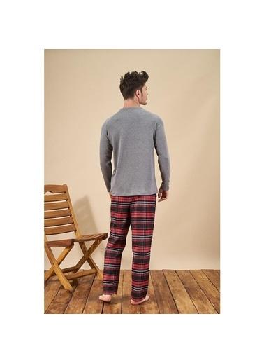 Pjs Pjs 21728 Erkek Uzun Kollu Pijama Takımı  Antrasit